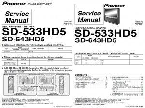 PIONEER SD-533HD5 SD-643HD5 TV SERVICE REPAIR MANUAL