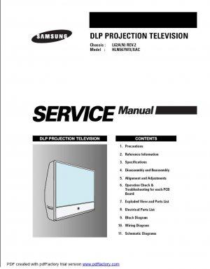 SAMSUNG HLN567WX/XAC DLP TV SERVICE REPAIR MANUAL