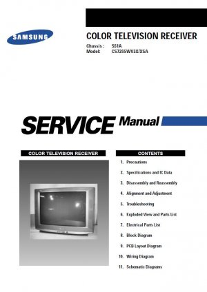 SAMSUNG CS725SWV3X/XSA TV SERVICE REPAIR MANUAL
