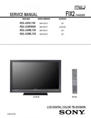 SONY KDL-40VL130 KDL-52W3000 KDL-52WL130 KDL-52WL135 TV SERVICE REPAIR MANUAL