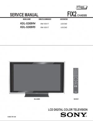 SONY KDL-52XBR4 KDL-52XBR5 TV SERVICE REPAIR MANUAL