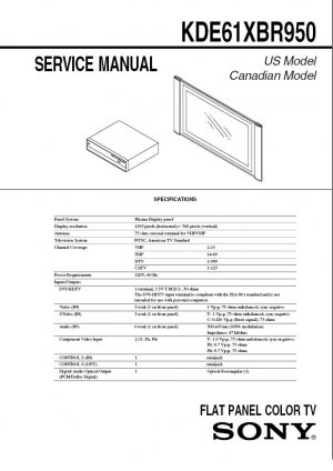 SONY KDE61XBR950 TV FACTORY SERVICE REPAIR MANUAL