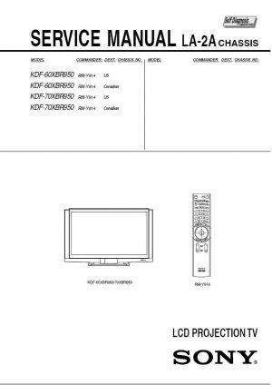 SONY KDF-60XBR950 KDF-70XBR950 TV SERVICE REPAIR MANUAL