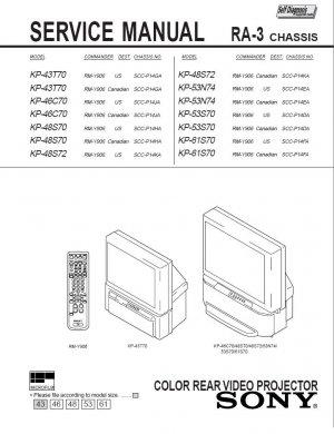 SONY KP-43T70 KP-46C70 KP-48S70 KP-48S72 KP-53N74 KP-53S70 KP-61S70 TV SERVICE REPAIR MANUAL