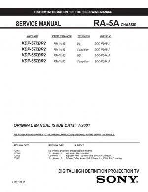 SONY KDP-57XBR2 KDP-65XBR2 TV SERVICE REPAIR MANUAL