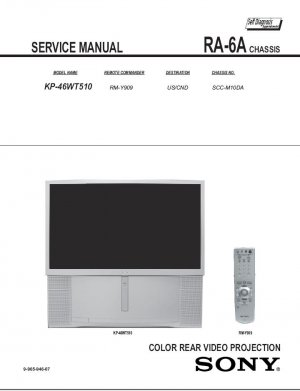 SONY KP-46WT510 TV FACTORY TV SERVICE REPAIR MANUAL