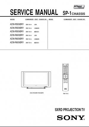 SONY KDS-R50XBR1 KDS-R60XBR1 SXRD TV SERVICE REPAIR MANUAL