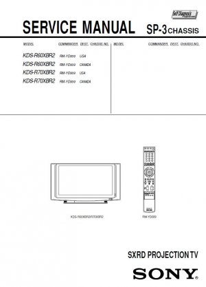 SONY KDS-R60XBR2 KDS-R70XBR2 TV SERVICE REPAIR MANUAL