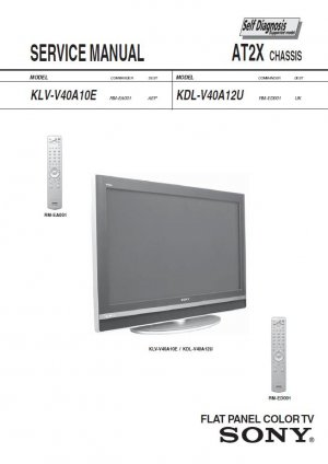 SONY KLV-V40A10E KDL-V40A12U TV SERVICE REPAIR MANUAL