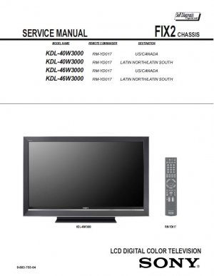 SONY KDL-40W3000 KDL-46W3000 TV SERVICE REPAIR MANUAL