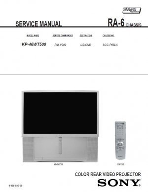 SONY KP-46WT500 PROJECTION TV SERVICE REPAIR MANUAL
