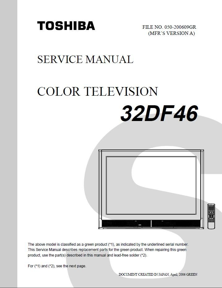Toshiba 32df46 Color Tv Service Repair Manual