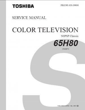TOSHIBA 65H80 PROJECTION TV SERVICE REPAIR MANUAL