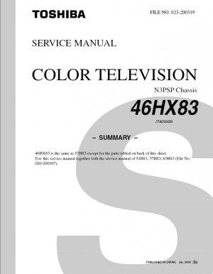 TOSHIBA 46HX83 PROJECTION TV SERVICE REPAIR MANUAL