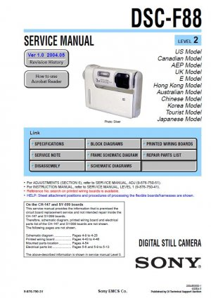 SONY DSC-F88 DIGITAL CAMERA SERVICE REPAIR MANUAL