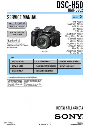 SONY DSC-H50 RMT-DSC2 DIGITAL CAMERA SERVICE REPAIR MANUAL