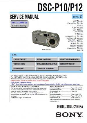 SONY DSC-P10 DSC-P12 DIGITAL CAMERA SERVICE REPAIR MANUAL