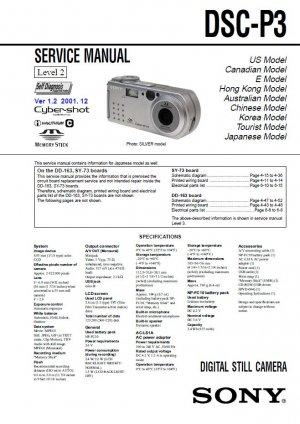 SONY DSC-P3 DIGITAL CAMERA SERVICE REPAIR MANUAL