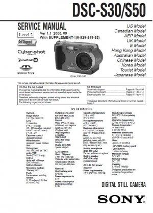 SONY DSC-S30 DSC-S50 DIGITAL CAMERA SERVICE REPAIR MANUAL