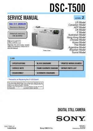 SONY DSC-T500 DIGITAL CAMERA SERVICE REPAIR MANUAL