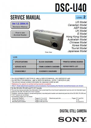 SONY DSC-U40 DIGITAL CAMERA SERVICE REPAIR MANUAL
