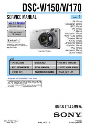 SONY DSC-W150 DSC-W170 DIGITAL CAMERA SERVICE REPAIR MANUAL