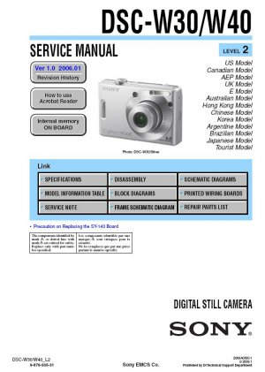 SONY DSC-W30 DSC-W40 DIGITAL CAMERA SERVICE REPAIR MANUAL
