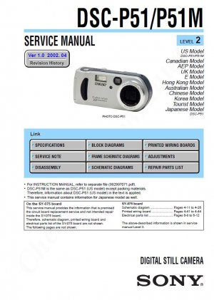 SONY DSC-P51 DSC-P51M DIGITAL CAMERA SERVICE REPAIR MANUAL