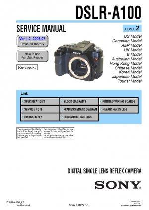 SONY DSLR-A100 DIGITAL CAMERA SERVICE REPAIR MANUAL