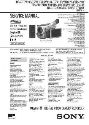 SONY DCR-TRV103 DCR-TRV110 DCR-TRV203 DCR-TRV310 DCR-TRV315 DCR-TR7000 DCR-TR7100E SERVICE MANUAL