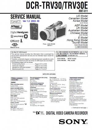 SONY DCR-TRV30 DCR-TRV30E CAMCORDER SERVICE REPAIR MANUAL