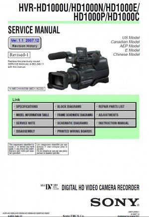 SONY HVR-HD1000U HVR-HD1000N HVR-HD1000E HVR-HD1000P HVR-HD1000C CAMCORDER SERVICE REPAIR MANUAL