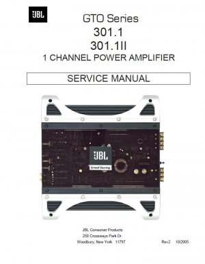 JBL AMPLIFIER GTO 301.1 301.1II SERVICE REPAIR MANUAL
