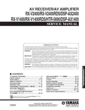 YAMAHA RX-V2400 RX-V2400RDS DSP-AX2400 RX-V1400RDS HTR-5690 DSP-AX1400 AV SERVICE REPAIR MANUAL