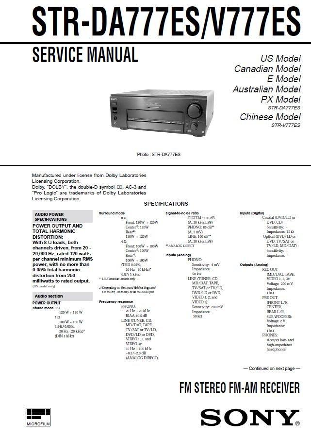 sony str de475 service manual
