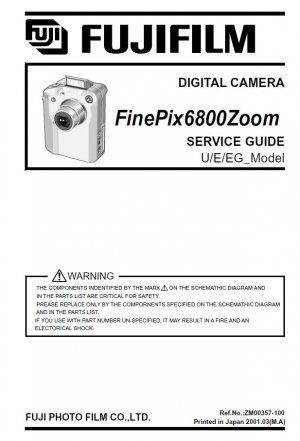 FUJIFILM FINEPIX 6800 ZOOM FUJI DIGITAL CAMERA SERVICE REPAIR MANUAL