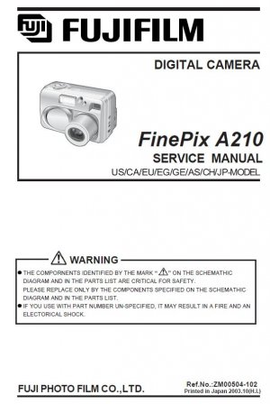 FUJIFILM FINEPIX A210 FUJI DIGITAL CAMERA SERVICE REPAIR MANUAL