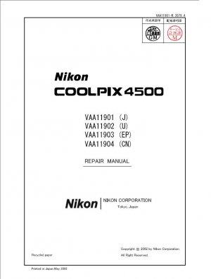 NIKON COOLPIX 4500 DIGITAL CAMERA SERVICE REPAIR MANUAL