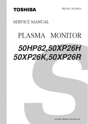 TOSHIBA 50HP82 50XP26H 50XP26K 50XP26R PLASMA TV SERVICE REPAIR MANUAL