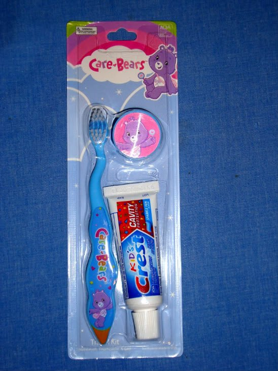 NEW Care Bears Travel Kit Toothbrush Cap Crest Toothpaste NIP Blue Oral Childs