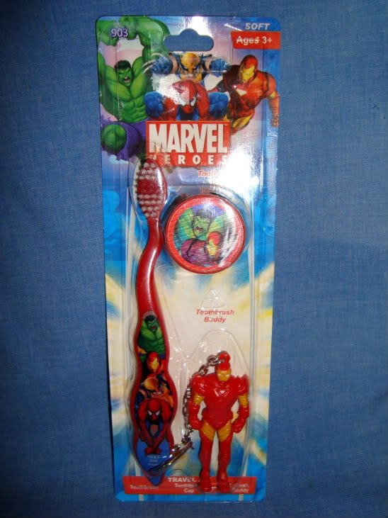 NEW Iron Man Marvel Travel Kit Soft Toothbrush Cap Buddy Spiderman Wolverine Hul