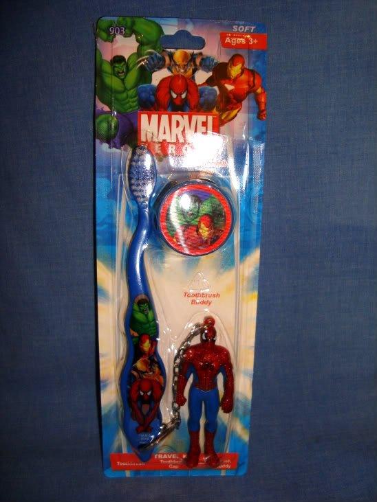 NEW Spiderman Marvel Travel Kit Soft Toothbrush Cap Buddy Hulk Iron Man Wolverin