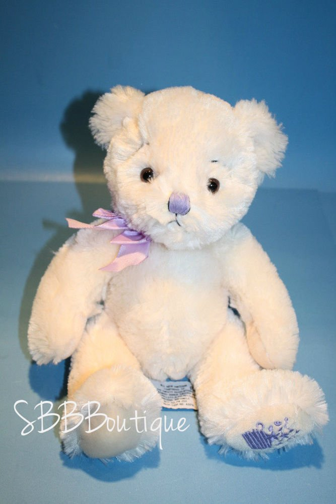 Russ plush Teddy Bear Anya Cream Lavender Bow Nose Flower Foot stuffed toy 11""