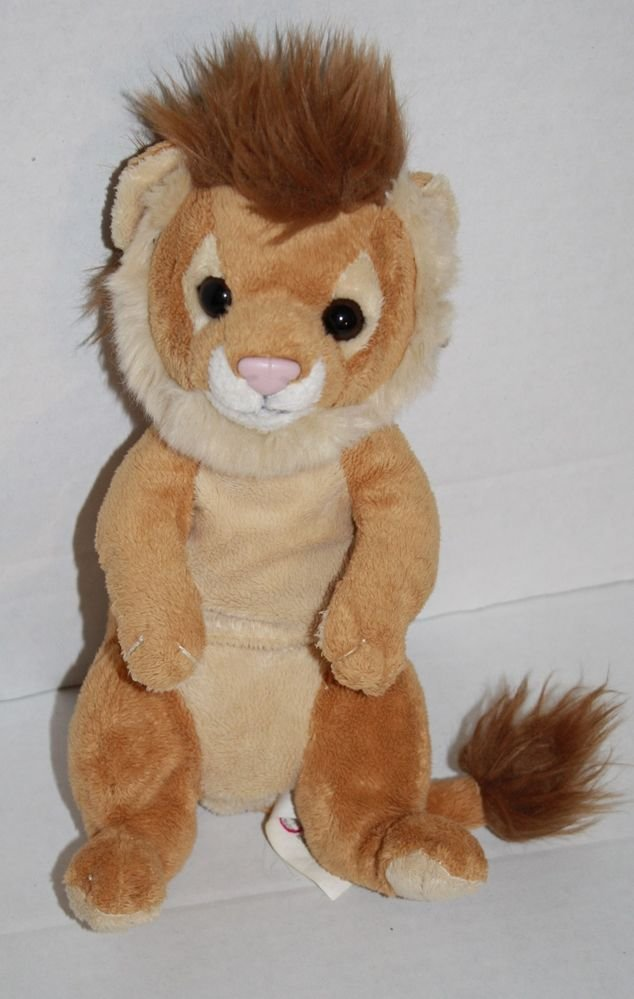 "E&J Classic Plush Lion Stuffed Animal 10"" Cub Tan Brown Laying Sitting soft"