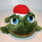 Russ Plush Lil Peepers Green Frog Santa Cap Blue Eyes Christmas Stuffed toy 10""