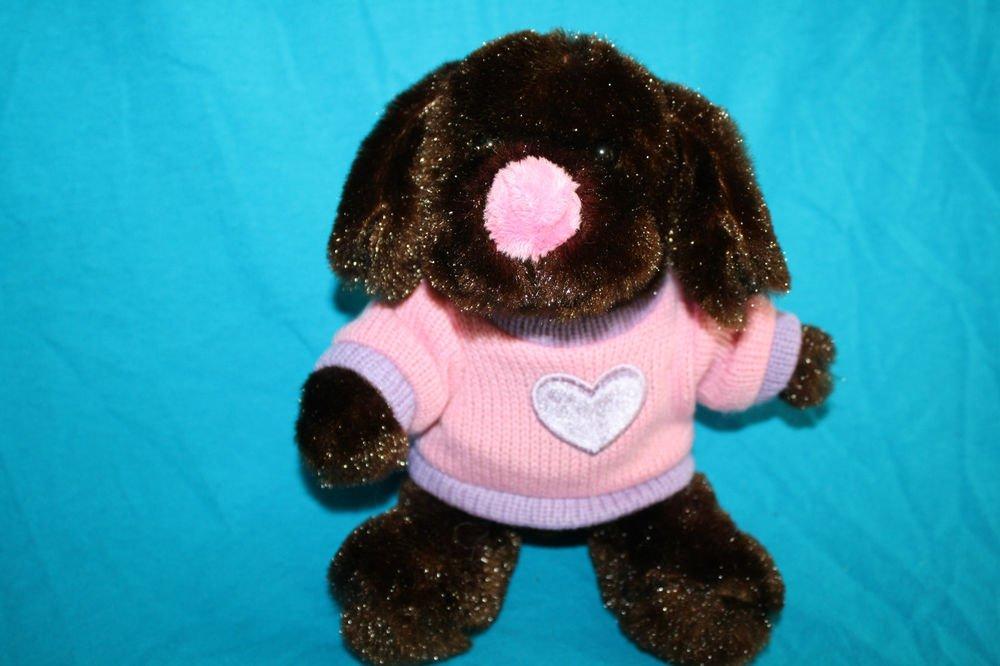 "Dan Dee Brown Dog Dark Plush Pink Nose Sweater Lavender Heart 2010 Stuffed 8"""