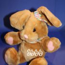 Dakin Brown Plush Bunny Fun Farm Rabbit Pastel Plaid Bow Stuffed Animal 1987 Vtg