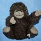 "Russ Berrie Monkey Gonzo Gorilla Ape Furry Fuzzy Brown Plush Stuffed Soft Toy 9"""