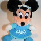 "Disney Minnie Mouse Mickeys Christmas Carol Blue Plush Dress Stuffed Sits 7"" Vtg"