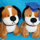 "Graduation DOGS Blue Cap Red Collar Sit 8"" GGI 1998 Plush Set of 2 Stuffed Soft"